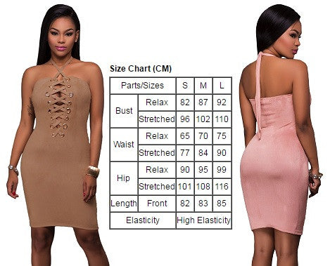 Her Pink Grommet Detail Elegant Halter Suede Bodycon Dress