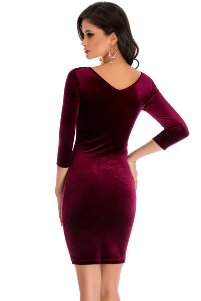 Her Burgundy Unique Hollow Out Round Neck Sleeved Velvet Dress