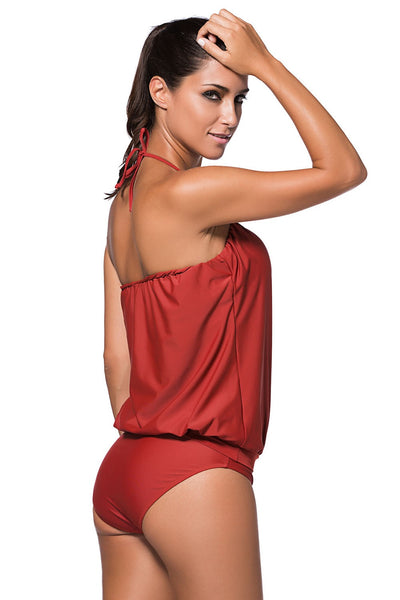 Her Burgandy Wirefree Chic Blouson Style Tankini Two Pieces Swimsuit
