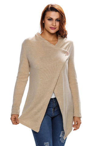 Her Casual Look Beige Asymmetric Wrapped Trendy Women Sweater