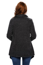 Her Casual Look Black Asymmetric Wrapped Trendy Women Sweater