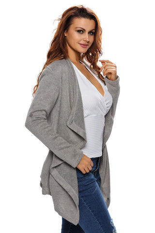 Her Casual Look Grey Asymmetric Wrapped Trendy Women Sweater