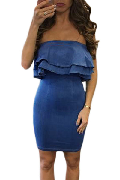 Her Casual and Perfect Denim Blue Double Ruffle Strapless Mini Dress