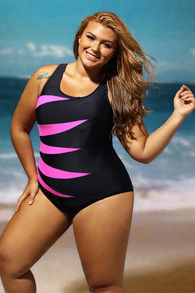 Her Chic Rosy Splicing Color Block Black Monokini Plussize Swimsuit