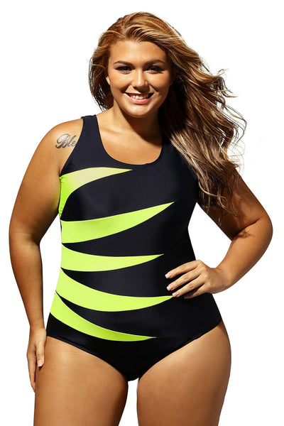 Her Chic Attention Purple Splicing Color Block Black Monokini Swimsuit