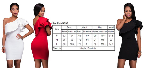 Her Chic Red Charming Asymmetric Ruffled Neckline Bodycon Mini Dress