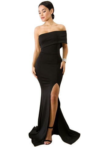 Her Chic Black Off The Shoulder One Sleeve Slit Maxi Party Prom Dress