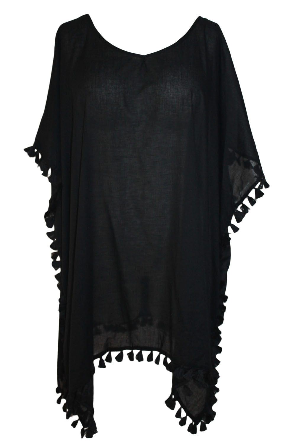 Her Chic Black Pom Pom Tassel Hem Gauze Beach Cover up