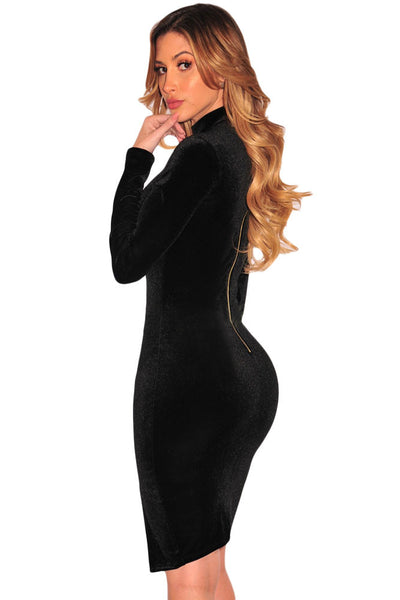 Her Chic Black Velvet Mock Neck Long Sleeves Elegantly Dress