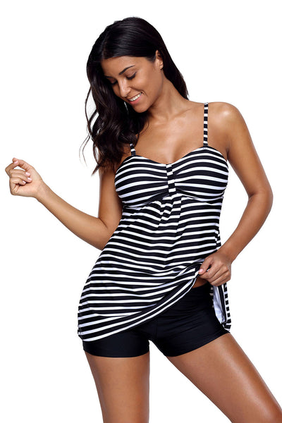 Her Chic Blue White Horizontal Striped Tankini and Short Set
