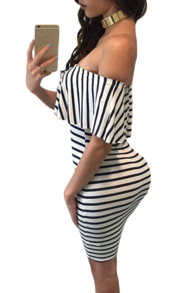 Her Chic Black White Striped Off-shoulder Bodycon Dress