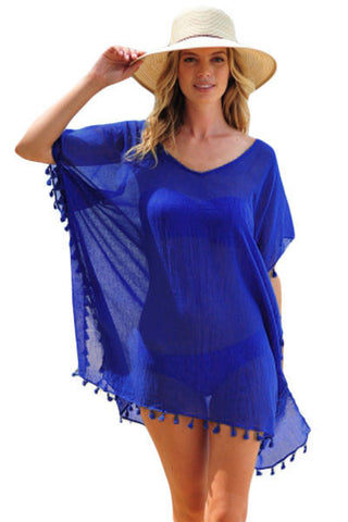 Her Chic Blue Pom Pom Tassel Hem Gauze Beach Cover up