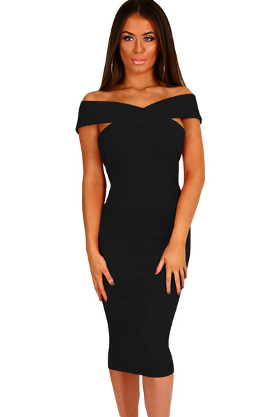 Her Chic Bodycon Black Off Shoulder Slim Fit Midi Dress