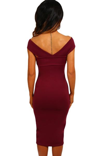 Her Chic Bodycon Red Off Shoulder Slim Fit Midi Dress