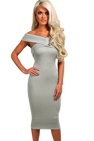 Her Chic Bodycon Grey Off Shoulder Slim Fit Midi Dress