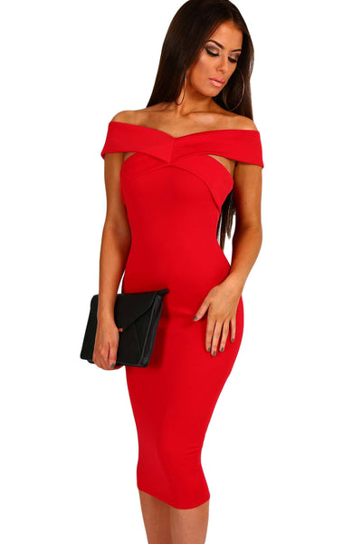 a5d110a9b8d Her Chic Bodycon Black Off Shoulder Slim Fit Midi Dress ...