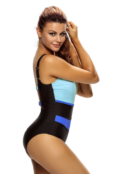 Her Chic Color Block Accent Hollow-out One Piece Swimsuit