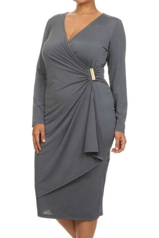 Her Chic Grey Wrap Style Long Sleeve Plus Size Dress