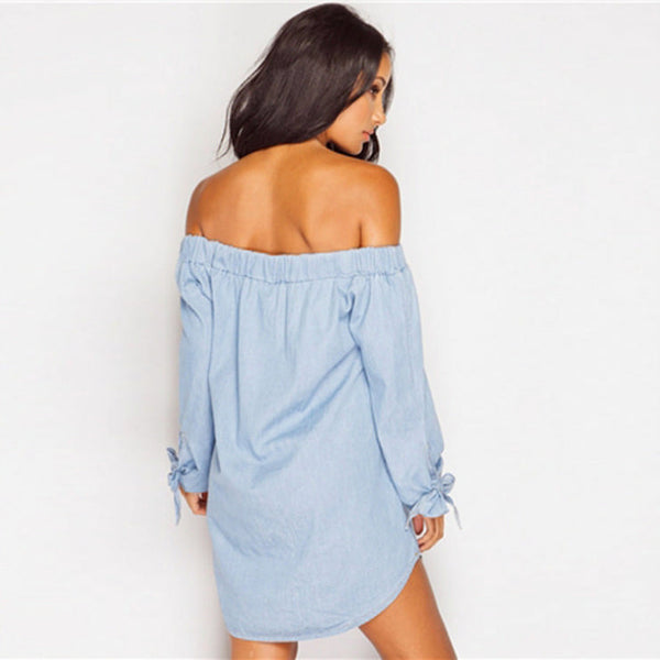 Her Chic Long Sleeve Strapless Off Shoulder Trendy Long Shirt Dress