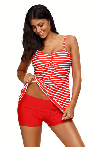 Her Chic Red White Horizontal Striped Tankini and Short Set