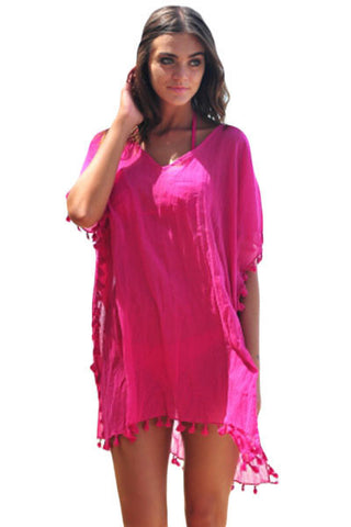 Her Chic Rosy Pom Pom Tassel Hem Gauze Beach Cover up