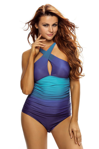 Her Chic Wavy Ocean Flavor Stylish One Piece Swimsuit