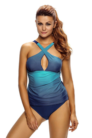 Chic Cross Straps Ocean Flavor Two Piece Her Fashion Tankinis Swimsuit