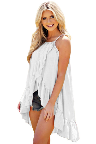 Her Chic Light Blue Ruffle Wrap Spaghetti Straps Sleeveless Vest Top