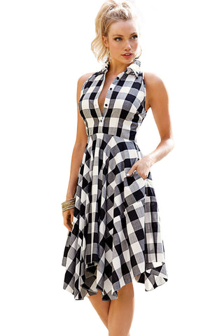 Her Chic and Modest Black White Grey Checks Flared Shirtdress