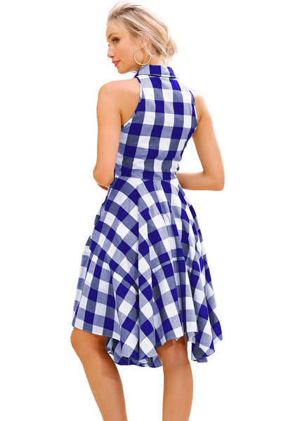 Her Chic and Modest Blue White Denim Checks Flared Shirtdress