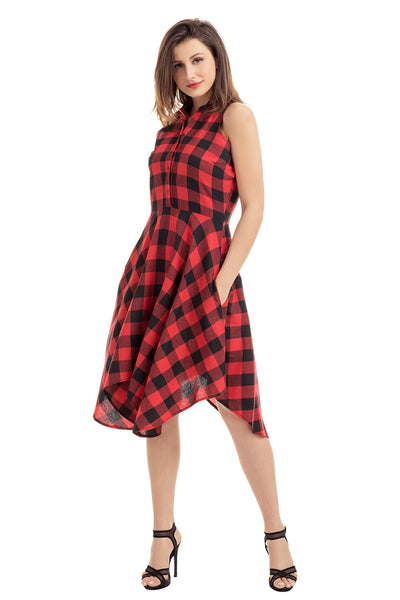 Her Chic and Modest Red Black Denim Checks Flared Shirtdress