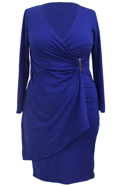 Her Chic Blue Wrap Style Long Sleeve Plus Size Dress