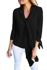 Her Classic Fashion-Forward Black Self-Tie Bow Sleeved Blouse