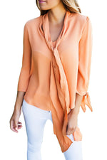 Her Classic Fashion-Forward Orange Self-Tie Bow Sleeved Blouse