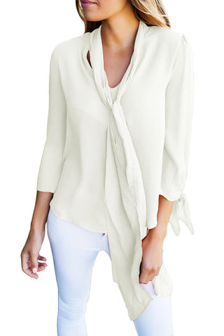 Her Classic Fashion-Forward White Self-Tie Bow Sleeved Blouse