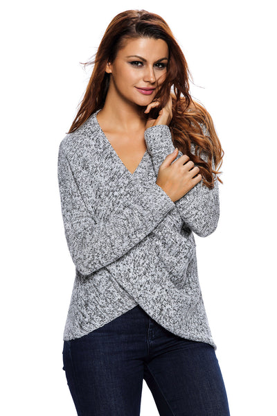 Her Contemporary Grey Long Sleeve Cross Wrap V Neck Pullover Sweater