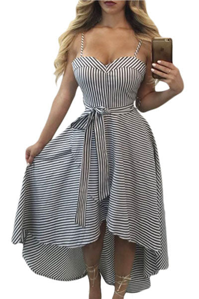 Her Cute Black White Pinstripe Print Sweetheart Hi-low Dress