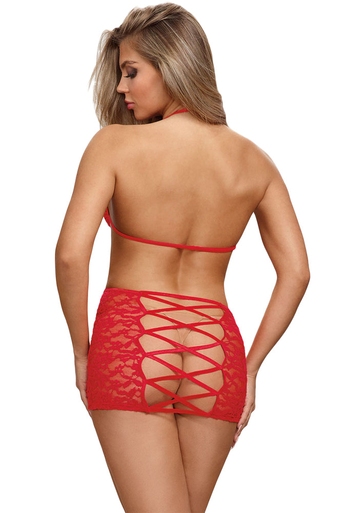 Her Cute Christmas Valentine Romantic Red Lace Strappy Chemise Lingerie