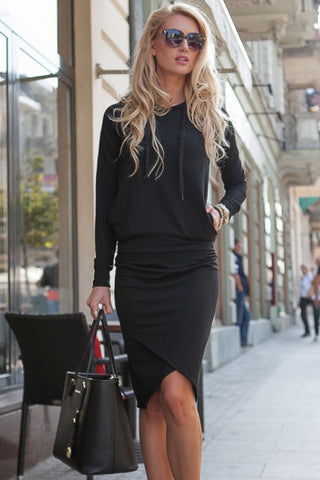 Her Cute and Cuddly Black Sporty Hoodie Pencil Skirt Set