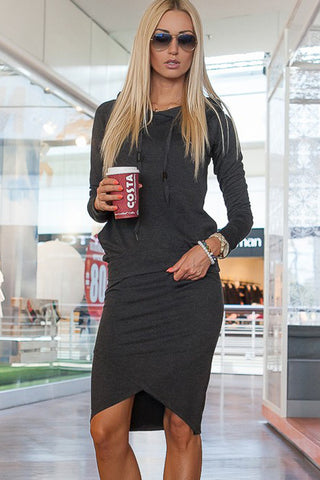 Her Cute and Cuddly Charcoal Sporty Hoodie Pencil Skirt Set