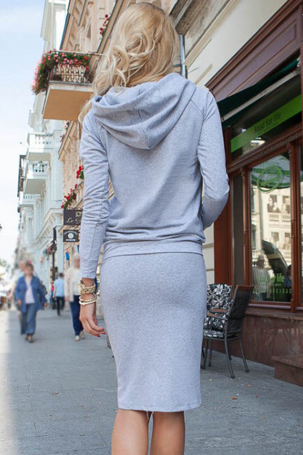 Her Cute and Cuddly Grey Sporty Hoodie Pencil Skirt Set
