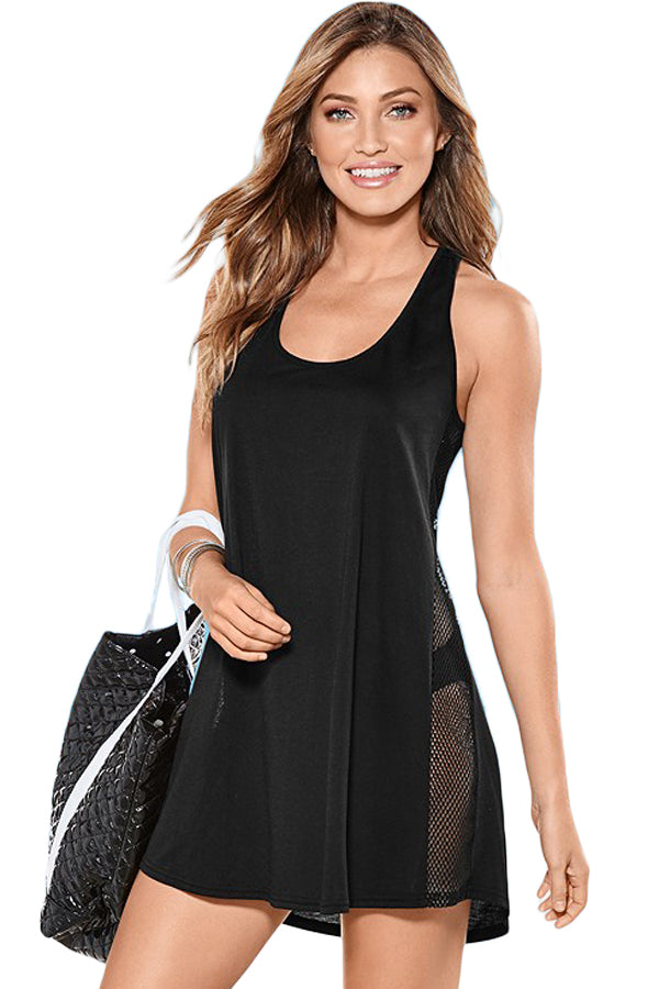 Her Easy to throw Black Mesh Side Racerback Beach Coverup