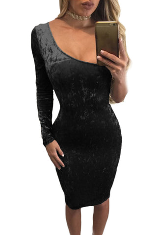 Her Elegant Black Asymmetric One Sleeve Suede Bodycon Dress