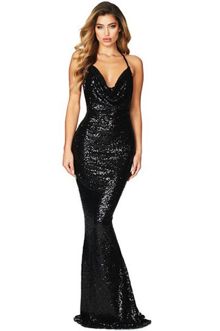 Her Elegant Black Daring Bare Back Sequined Mermaid Maxi Gown Dress