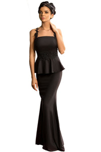 Her Elegant Black Delicate Floral Applique Mesh Mermaid Style Dress