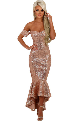Her Elegant Off Shoulder Sequins Mermaid Women Party Dress