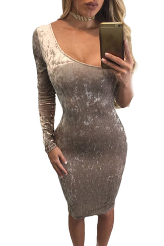Her Elegant Coffee Asymmetric One Sleeve Suede Bodycon Dress