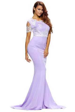 Her Elegant Exquisite Lace Trim Purple Beautiful Formal Gown