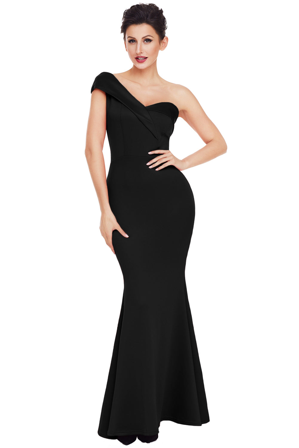 Her Elegant Fashion Black Sexy One Shoulder Beautiful Ponte Gown