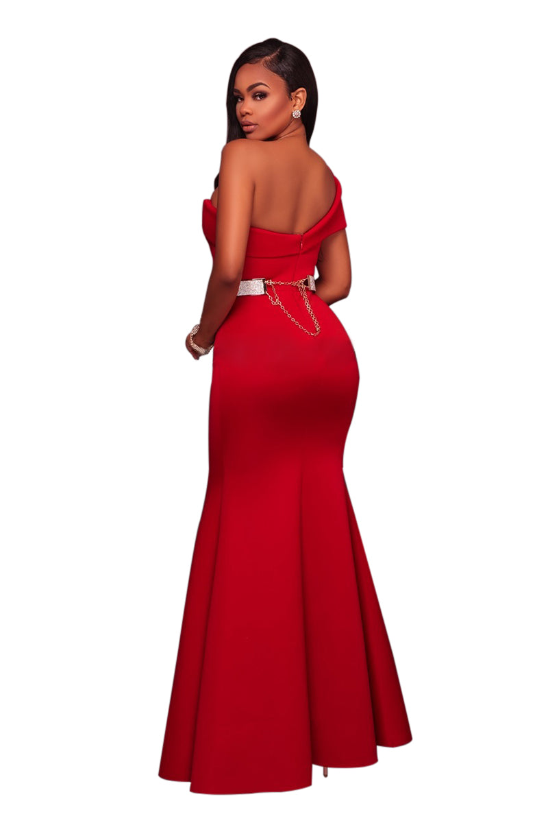 Her Elegant Fashion Red Sexy One Shoulder Beautiful Ponte Gown